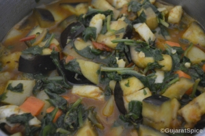 Spinach and spices added