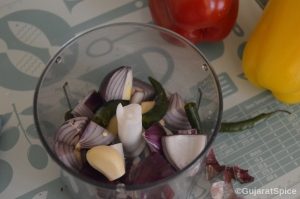 Onions, garlic and green chillies