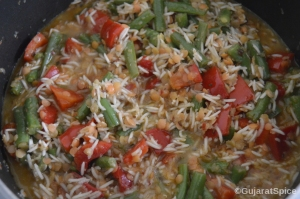 Red lentils and rice mixed well with vegetables