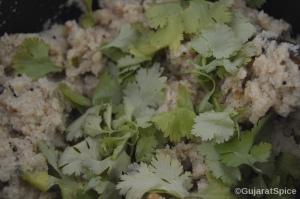 Chopped coriander added