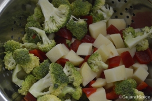 Chopped potatoes and red pepper with florets of broccoli