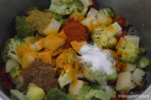 Spices and salt added to vegetables