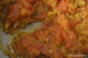 Tomatoes cooked until soft and have become a pulp