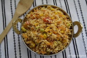 Tomato and Veg Puloa (Tomato and Mix Veg Pulao)